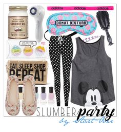 """""""ZZZZZZZ"""" by start-over ❤ liked on Polyvore featuring Boohoo, Clarisonic, Deborah Lippmann, George, adidas, M&Co and slumberparty"""