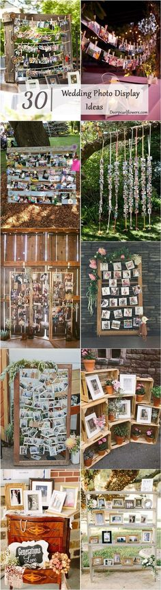 rustic wedding photo display wedding decor ideas / www.deerpearlflow...