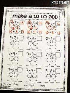 Use number bonds to teach how to make a 10 by borrowing from the other addend - great compensation strategy for addition Number Worksheets Kindergarten, Kindergarten Math, Teaching Math, Math Resources, Math Activities, Mental Math Strategies, Subtraction Strategies, Math Numbers, Decomposing Numbers