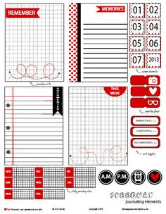 FREE printable download -Speedway Project Life journaling cards.  A set of black, white and red journaling cards for project life and other pocket scrapbooking use. Free printable download available for personal use only.