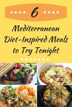 6 Mediterranean Diet-Inspired Meals - like Greek Quinoa Salad and Medterranean Salmon. #recipes