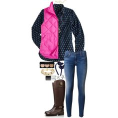A fashion look from March 2015 featuring J.Crew tops, J.Crew vests and Hudson jeans. Browse and shop related looks.