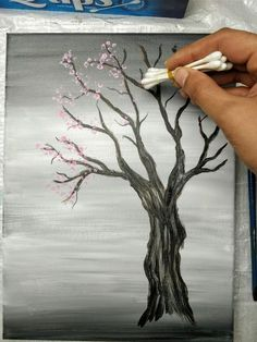 Painting a Cherry Blossom Tree with Acrylics and Cotton Swabs! Looking for an EASY cherry blossom tree painting tutorial? Use a canvas, acrylics & Q-Tips to make this simple step-by-step cherry blossom tree painting. Canvas Painting Tutorials, Easy Canvas Painting, Cotton Painting, Painting Art, Painting Tips, Tree Paintings, Painting Pictures, Acrylic Art Paintings, Beginner Painting