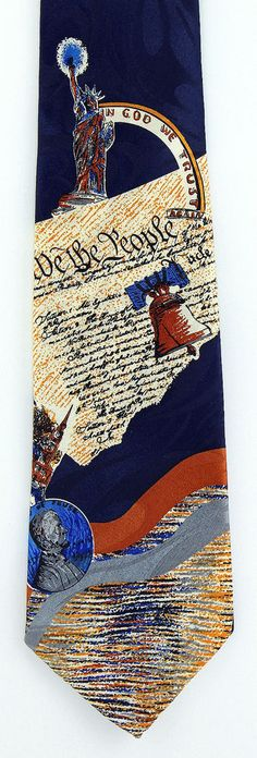 We The People Mens Necktie Patriotic Statue Liberty Bell 4th July Gift Tie New #StevenHarris #NeckTie
