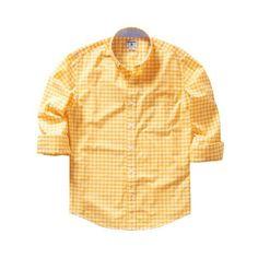 Bonobos 100% Cotton Poplin Yellow Slim Gingham Sport Shirt ($78) via Polyvore