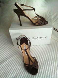 Monolo Blahnik Leather T-Strap Heels - Brand New In Box $210.00