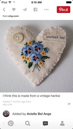Pretty heart using vintage embroidery