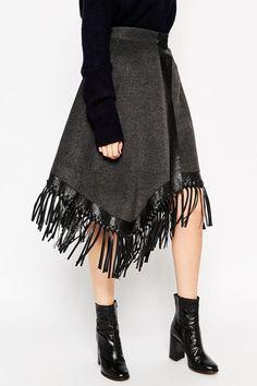 Fringed Wrap Premium Midi Skirt