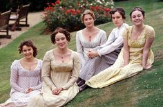 The Bennet sisters; Julia Sawalha as Lydia, Jennifer Ehle as Elizabeth, Susannah Harker as Jane, Lucy Briers as Mary and Polly Maberly as Kitty. A&E Pride and Prejudice