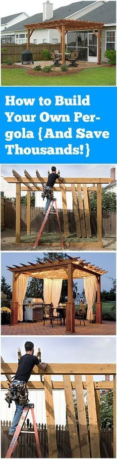 Build Your Own Pergola- Money Saving tips, tricks and tutorials #backyardlandscapediysolarlights #pergoladiy