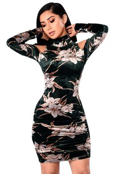 0bc9b193184 Black Cold Shoulder Retro Floral Velvet Dress Casual Dresses