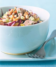 Ham and Black-Eyed Pea Salad|Combine baked ham with fresh ingredients—bell peppers, cabbage, celery, and dill—to create this easy no-cook meal.