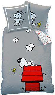 CTI 042.748 Snoopy Classic - Funda nórdica 140 x 190 cm, con 1 funda de almohada 63 x 63 cm, de algodón, de color gris