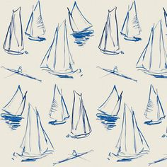 Jean-Louis Clerc has enlarged this small seaside watercolor illustration. Created in a silk - cotton jacquard, Voiliers reflects the painting of a regatta on a quiet sea on a beautiful sunny afternoon. Textile Patterns, Cool Patterns, Print Patterns, Textiles, Pattern Art, Autumn Illustration, Watercolor Illustration, Fabric Wallpaper, Wall Wallpaper