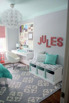 Love the idea of an accent ceiling. But it would be a pain to change. The cute bench with storage.