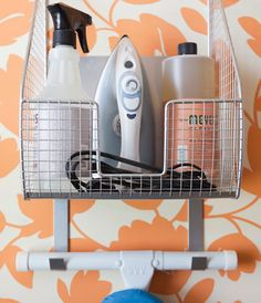 An all-in-one ironing board hanger with roomy basket to match!