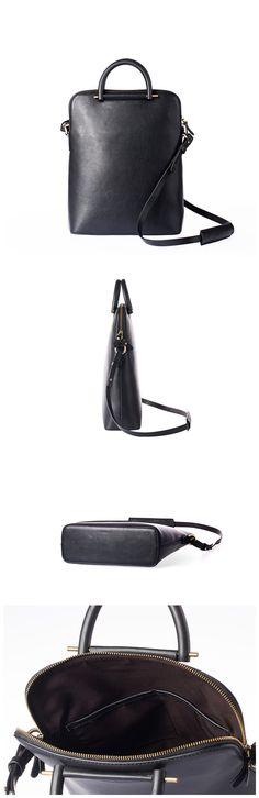 Handmade Genuine Leather Women Tote Bag Handbag •Adjustable shoulder strap. •Inside two pockets •Brass hardware •Fit a 13 macbook air •Length: 27.5cm; Height: 34cm; Width: 10cm; •Color:Black