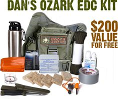 """Win Dan's Ozark EDC Survival Kit! A $200 value for free! The Ozark Kit is like a """"Get Home"""" kit. This kit is perfect for your workplace and/or in your vehicle. #EDC #Survival #Giveaway #DansDepot #DontJustSurviveThrive #preparedness #SHTF #SurvivalPreparedness #UrbanSurvival #BuggingOut #BugOutBag"""
