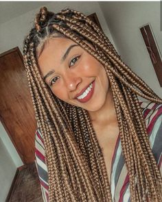 ster Teixeira no Instagra Black Girl Braided Hairstyles, Cool Braid Hairstyles, Black Girl Braids, African Braids Hairstyles, Girls Braids, Gorgeous Hairstyles, Bob Hairstyles, Blonde Box Braids, Braids With Curls