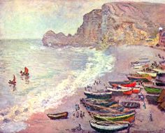 Fishing boats on the beach at Etretat by Monet – La Porte d'Amont can be seen in the background. Description from normandythenandnow.com. I searched for this on bing.com/images