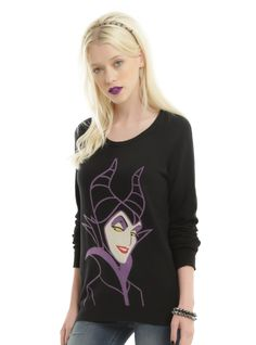Support the Mistress of All Evil when you wear this sweater from Disney's  Sleeping Beauty . Black crew neck light-weight sweater with Maleficent and her sinister smile on front.    100% cotton  Wash cold gentle cycle; dry flat  Imported  Listed in junior sizes