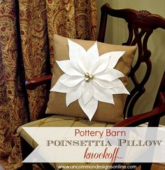 A beautiful Pottery barn inspired Poinsettia Christmas Pillow. A perfect little home decor accent for your home for the holidays! Christmas Pillow, Cozy Christmas, All Things Christmas, White Christmas, Christmas Holidays, Christmas Decorations, Holiday Decorating, Decorating Ideas, Beautiful Christmas
