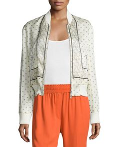 3.1 PHILLIP LIM Scarf-Print Silk Bomber Jacket, Ivory. #3.1philliplim #cloth #