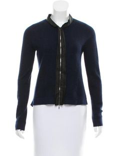 Navy Marni mohair-blend jacket with asymmetrical hem and silk trim featuring zip closure at front.