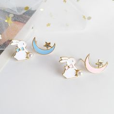 Juvkawaii is one of the leading online stores offering anime,kawaii,harajuku,fashion products.We were inspired by friends from abroad,then we are committed to bring you the latest and most fashionable stuffs. Ear Jewelry, Cute Jewelry, Jewelry Crafts, Jewelry Making, Moon Earrings, Small Earrings, Cute Earrings, Korean Accessories, Jewelry Accessories