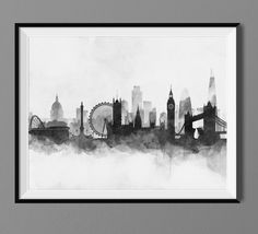London Skyline - Watercolor Art Print Poster - Housewarming, Home Decor, Wall Hanging, London Art by Macanaz on Etsy https://www.etsy.com/listing/220591671/london-skyline-watercolor-art-print