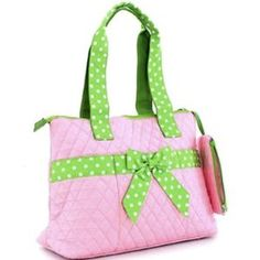 Designer Inspired Quilted Medium Diaper Handbag w/ Bow
