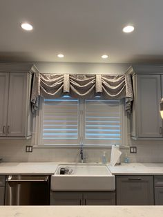 Embroidered valance for a kitchen in Glenview, IL. Drapery, Valance Curtains, Hunter Douglas Blinds, Long Grove, Kitchen Valances, Roller Shades, Blinds For Windows, Window Design