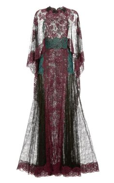 Shop Lace Capsleeve Gown With Lace Cape by Valentino for Preorder on Moda Operandi