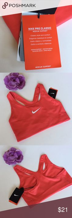 Nike Pro Sports Bra NWT. Medium support sports bra. Vibrant coral color. Thanks for shopping my closet! Nike Intimates & Sleepwear Bras