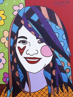 "Romero Britto's ""Liza"" 2005,  40"" x 30"" Acrylic on Canvas. Learn more about Romero Britto and Florida (The Sunshine State) at: www.floridanest.com"