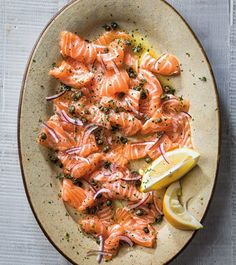 Salmon Crudo with Red Onion and Fried Capers   Buy the freshest fish you can find for this flavorful salmon crudo starter. This recipe is easily doubled.