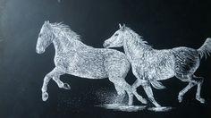 Scratch board horses