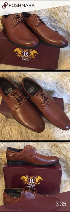 ROYAL Allen Men's Plain Toe Oxford Shoes, size 11 Brown ROYAL Allen Men's Plain Toe Oxford Shoes, size 11.  100% synthetic leather.  Faux leather outer.  Lace up design.  Fits true to size. Royal USA Shoes Oxfords & Derbys