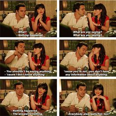 Jess & Nick being coy ; Its Jess, Nick And Jess, Girl D, Hey Girl, New Girl Funny, New Girl Tv Show, Cotton Eyed Joe, Zoey Deschanel, New Girl Quotes