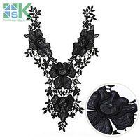 Lace collar 2PCS/lot Black PU leather embroidered Venise Embroidery Lace Fabric Costume Dress fine Applique motif Dress Trim Clo