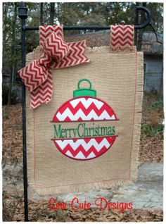 Merry Christmas Yall Burlap Garden Flag w by CraftyCuteDesignsNC