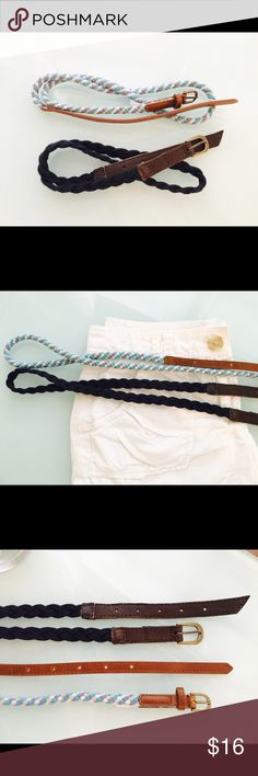 2 Abercrombie Nautical Braided Leather Belts 2 Abercrombie Nautical Braided Leather Belts in size medium. 1 has been worn once and the other is new. Price is for both Abercrombie & Fitch Accessories Belts