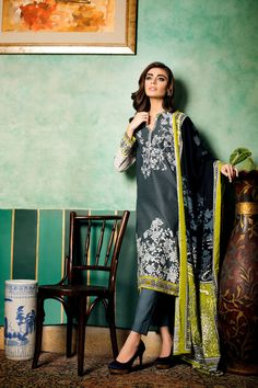Dark Blue Embroidered Linen V-07 B from Gul Ahmed