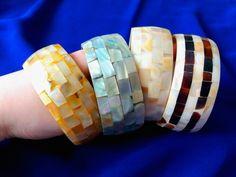 Bracelets made from bone beautifully decorated by shellnuts Bracelet Making, Napkin Rings, Bones, Cufflinks, Bracelets, Earrings, Accessories, Beauty, Beautiful