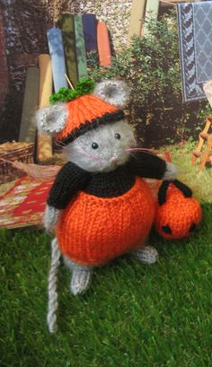 Hand knitted Halloween mouse by dollsandbunnies on Etsy, $38.00