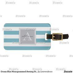 Ocean Blue Monogrammed Awning Stripe