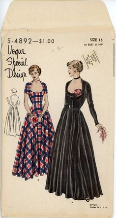I would so love to have this pattern! 1940s Evening Dress Pattern Vogue Special Design 4892