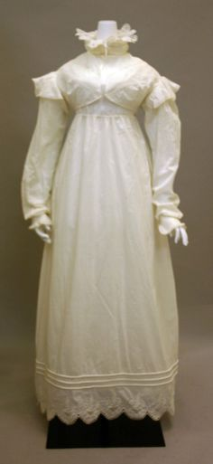 1819 ca.  Morning Dress, British.  White Cotton with lace trims at high neck and sleeve caps.  Credit Line: Irene Lewisohn Bequest, 1977 metmuseum.org                              suzilove.com