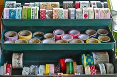 Keep tapes (or ribbons) inside a vintage tackle box!