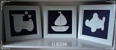 WWW.GKIDS.COM.BR Quadros de bebê, decoração quarto de bebê, quadros de carrinhos, quadros de bebê azul marinho, nursery, baby room